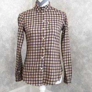 Checkered Plaid Button Cuff Long Sleeve Collared